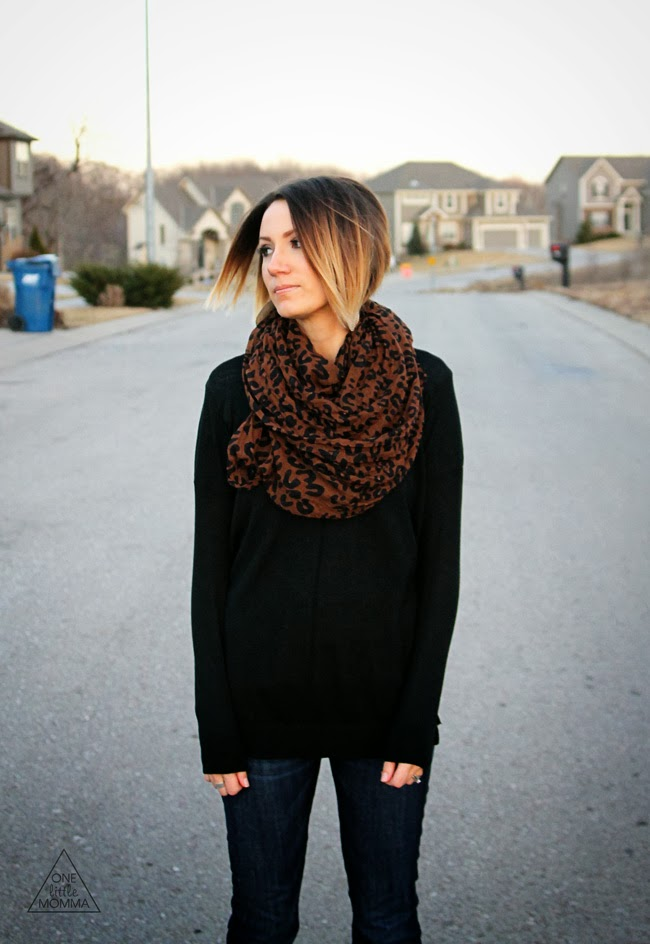 leopard scarf, black sweater, strappy flats