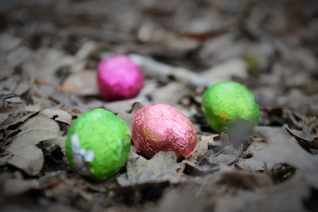 Colourful chocolate eggs on the muddy ground.