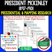 President McKinley, American History Research Graphic Organizers, American History Map Activities, American History Digital Interactive Notebook, American History Presidential Research, American History Summer School