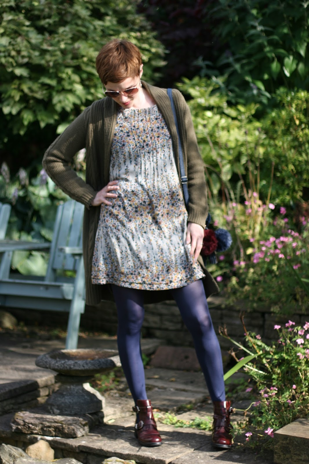 Floral Topshop dress, Boden chunky cardigan, Blue Charnos tights, oxblood leather boots.