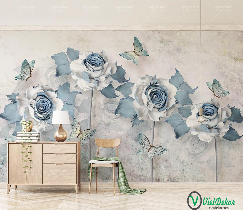 Tranh dán tường 3d hoa hổng xanh