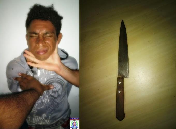 Homem é preso por ameaçar sua genitora com uma faca em Magalhães de Almeida