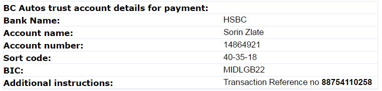 BC Autos Scam - HSBC 14864921 | Sorin Zlate | 40-35-18 | BCAUTOS