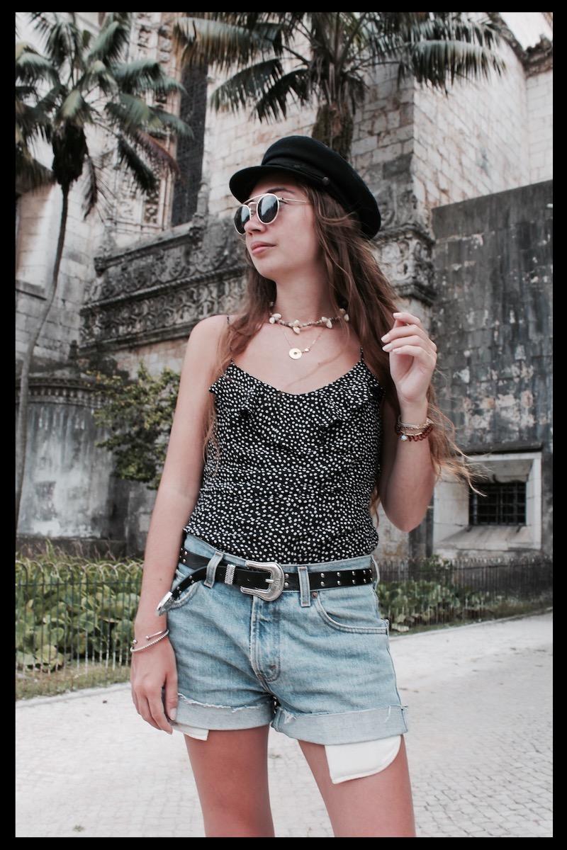 collier coquillages caracos à pois short levi's blogueuse mode