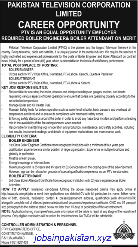 Advertisement for Pakistan Television Corporation Limited Jobs 2018