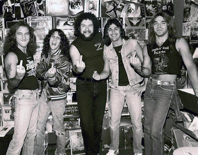 Here's a very cool pic of a very young TT Quick along with Jon Zazula taken in the legendary Rock 'n Roll Heaven record store. Something else that was pointed out... check out the bottom left corner by Mark's leg. What do you see? Destiny maybe? That's the cover of Accept's first album. How fuckin' cool is that right!!!