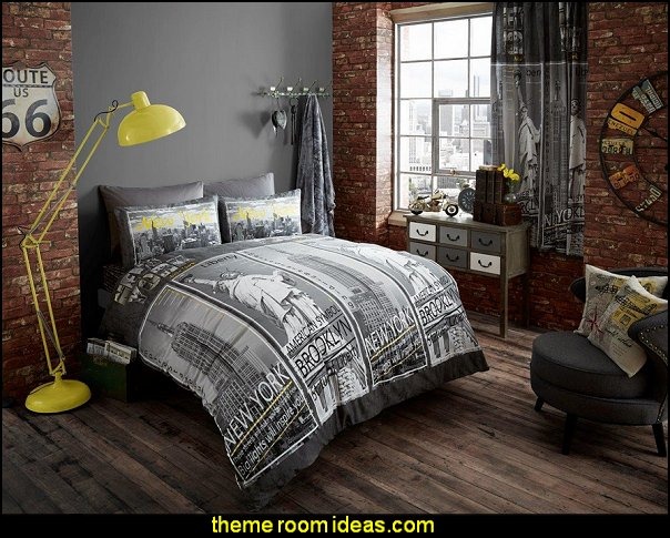 New York Inspire Double Duvet and Pillowcase Set   urban bedroom decor - urban bedrooms - Urban bedding