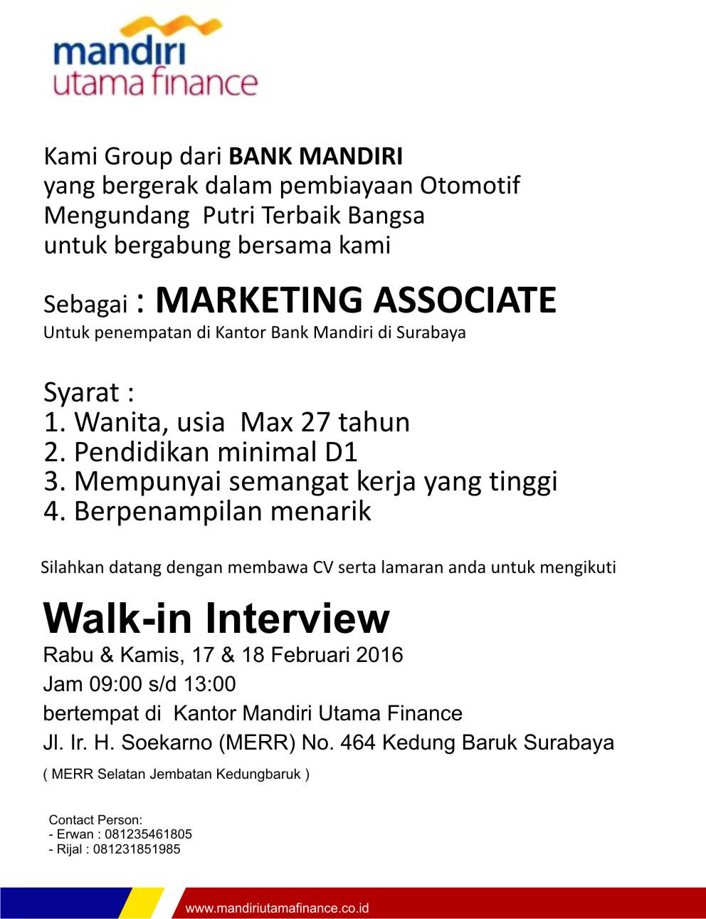 walk in interview di mandiri utama finance surabaya