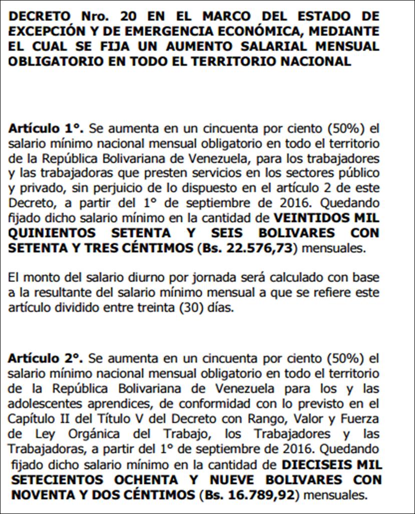 Detalle del decreto n 2 429 mediante el cual se aumenta en un cincuenta por ciento 50 el salario m nimo nacional mensual obligatorio en todo el