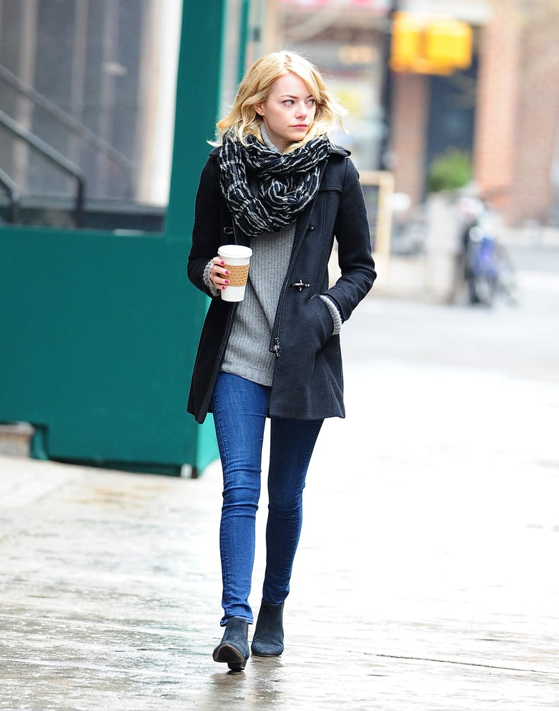 Emma Stone Wears an Easy Casual Winter Look