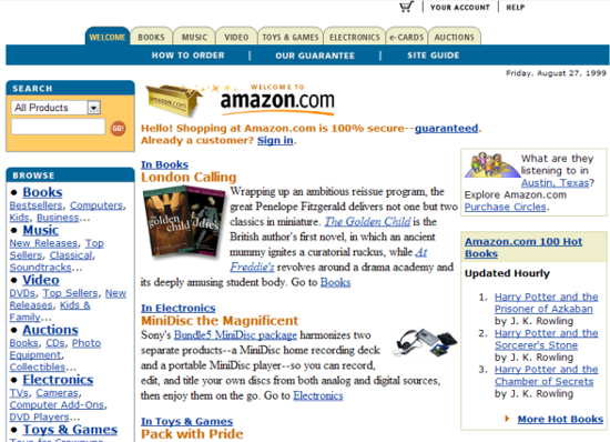 Amazon home page 1999