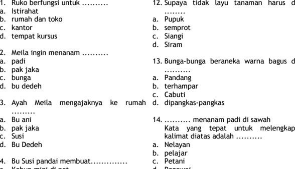 Contoh Soal UTS Bahasa Indonesia Semester 1 Kelas 3 SD