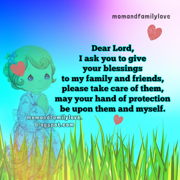 Family ahort prayer for blessings, Mery Bracho, free christian family images and quotes, mom and family love.