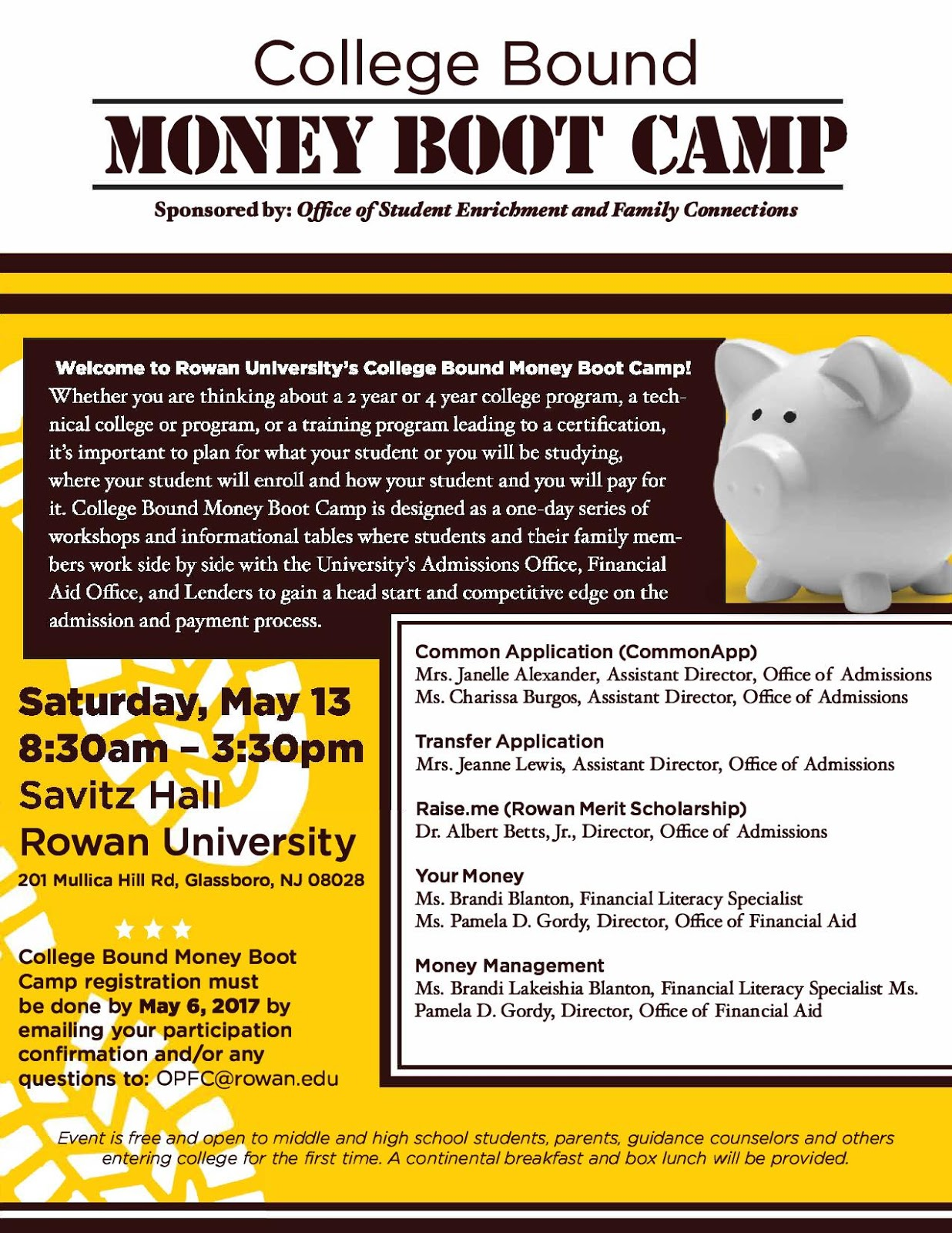 Woodbridge High School Guidance Department : Register for the Free Money Boot Camp at Rowan ...