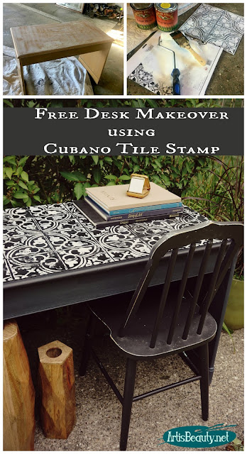 free desk makeover using general finishes milk paint and iron orchid designs cubano tile stamp