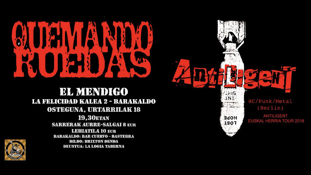 Cartel del concierto de Quemando Ruedas y Antiligent en el pub Mendigo