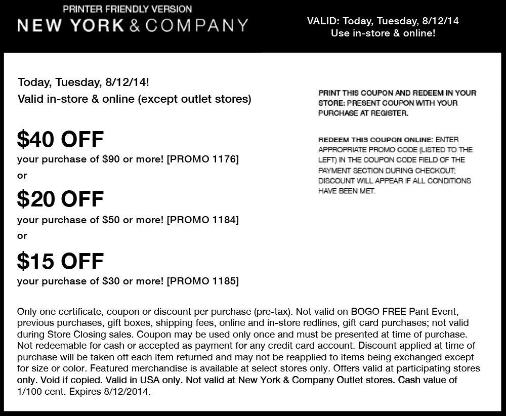 New York And Company Printable Couponstestoxplode.com ...