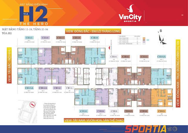 Mặt bằng tòa H01 dự án Vincity Sportia ( Vincity Tây Mỗ Đại Mỗ)