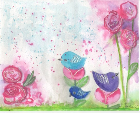 Watercolor Flowers and Birds
