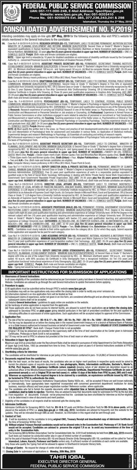 Advertisement of FPSC 05/2019