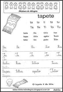 Atividades alfabetização famílias silábicas