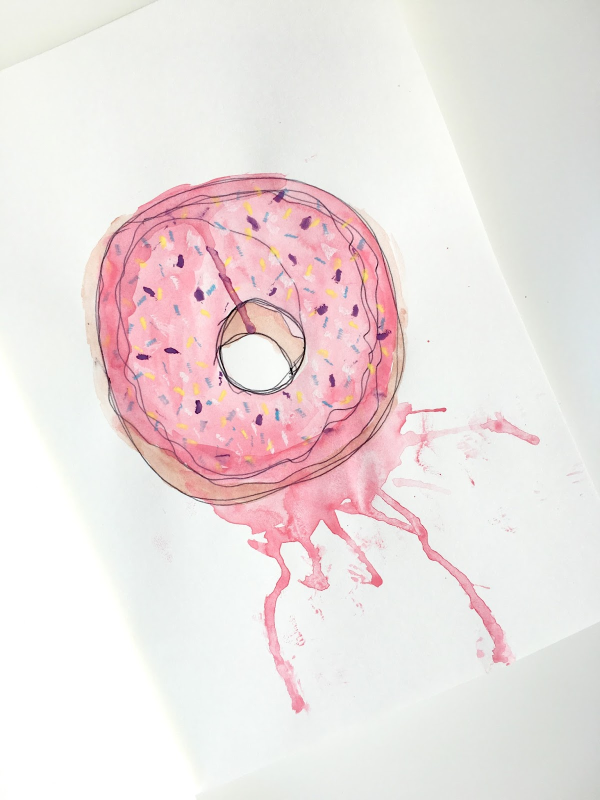 Sweet Allure I Decided To Start An Art Journal creative sketchs drawing watercolours painting doodles dougnut donut sprinkles fun hobby