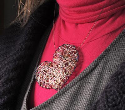 Rainbow heart necklace, handmade art jewelry
