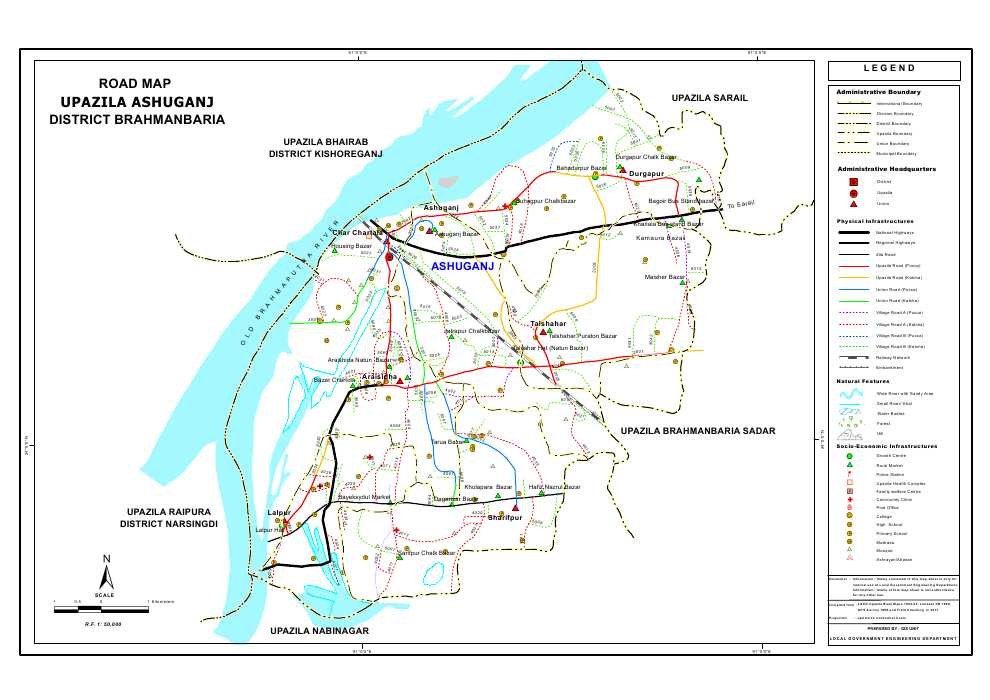 Ashuganj Upazila Road Map Brahmanbaria District Bangladesh