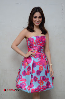 Actress Tamanna Latest Images in Floral Short Dress at Okkadochadu Movie Promotions  0061.JPG