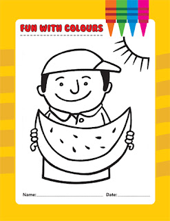 Clipart Image of a Colouring Page With a Boy Eating a Watermelon