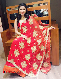 Actress Mannara Chopra Pictures in Red Dress at Dubai 0003