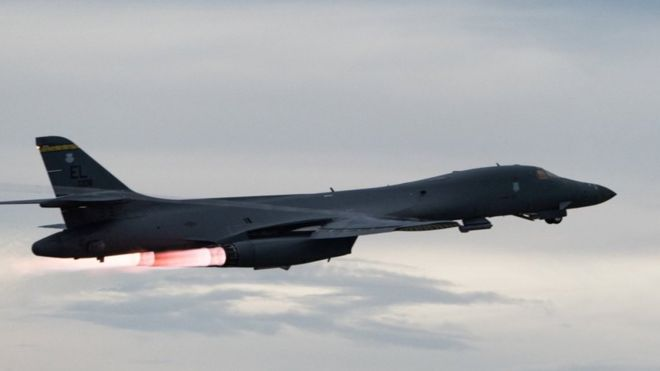 US B-1B bomber in attack drill show of force to North Korea