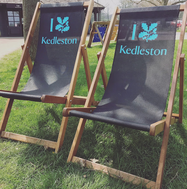 Deck chairs with Kedleston Hall printed on them