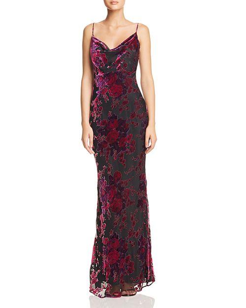 Midori Floral Velvet Burnout Gown