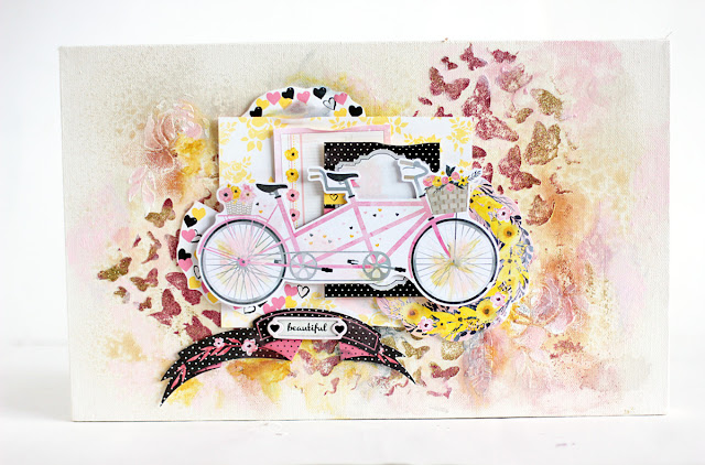 Beautiful Life Canvas by Elena Olinevich using BoBunny Petal Lane Collection