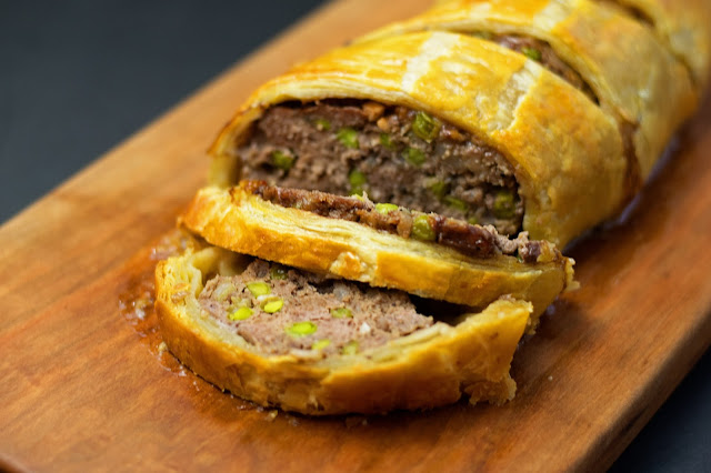 The finished Ground beef Wellington.