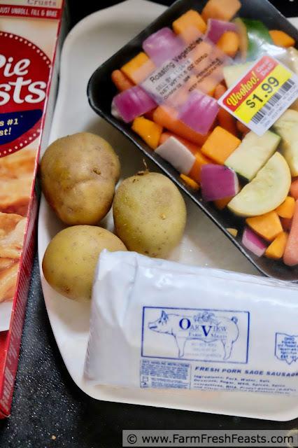 ingredients to make sausage pasty meat pie