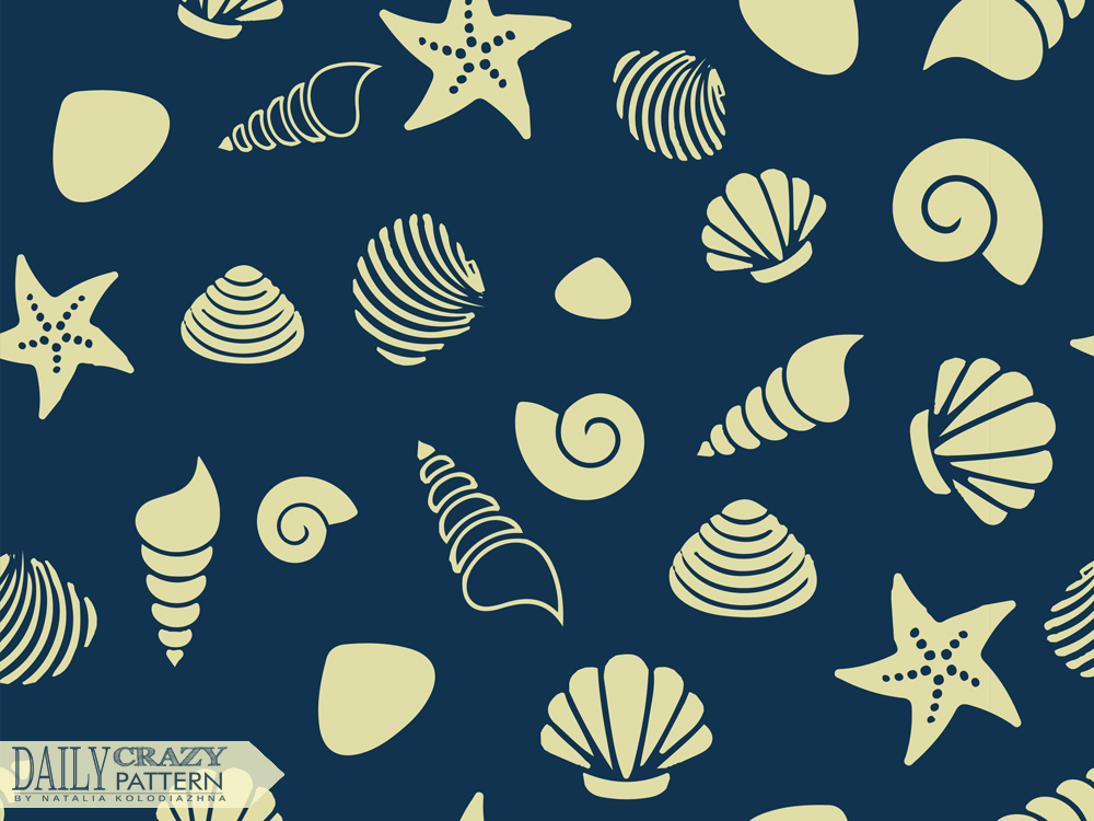"Sea pattern with shells for ""Daily Crazy Pattern"" project"