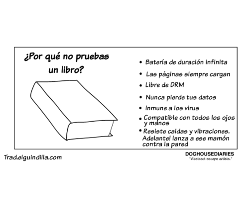 Meme sobre las ventajas del libro impreso convencional