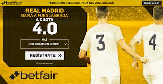 betfair supercuota victoria del Real Madrid al Fuenlabrada 26 octubre