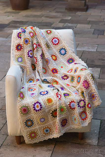 Sofa size crochet square blanket by Anabelia Craft Design