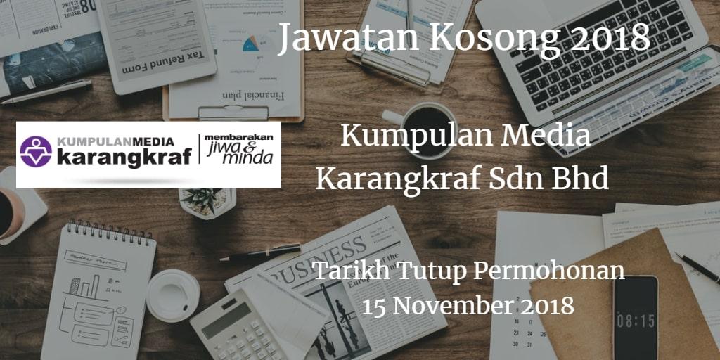 Jawatan Kosong Kumpulan Media Karangkraf Sdn Bhd 15 November 2018