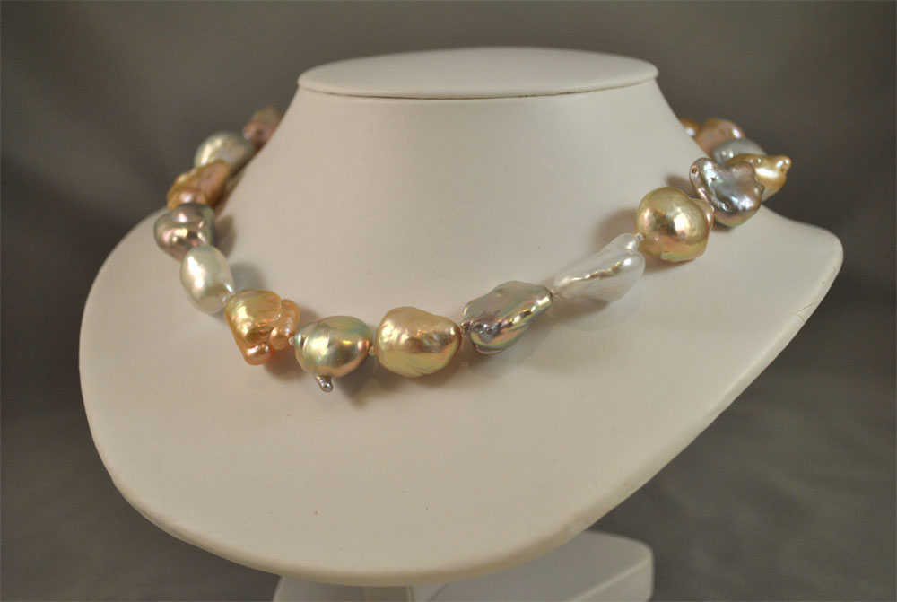 pearl baroque necklace pearls slp cultured natural freshwater com champagne jyx amazon