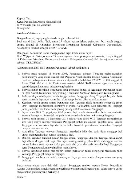 Contoh Surat Permohonan Cerai