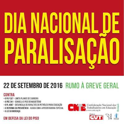 Dia Nacional de Paralisação acontece dia 22 de setembro