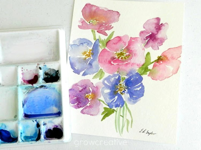 watercolor poppies by Elise Engh