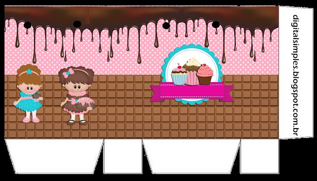 Cajas de Chicas Haciendo Cupcakes para imprimir gratis