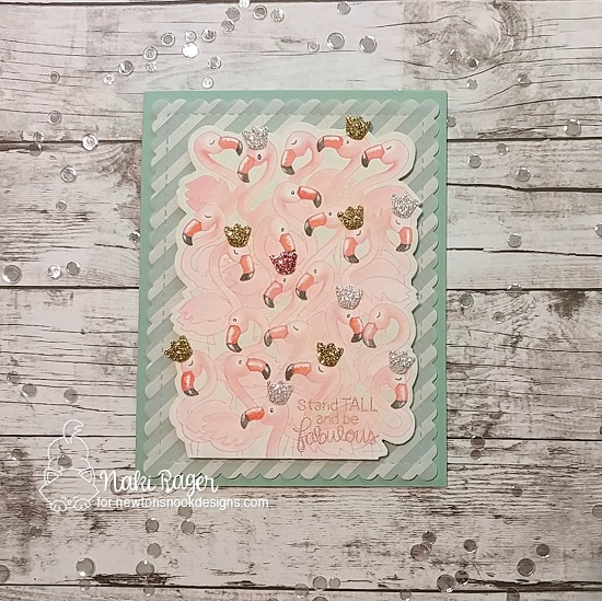 Flamingo Princesses card by Naki Rager | Flamingo Flock Stamp Set by Newton's Nook Designs #newtonsnook #handmade
