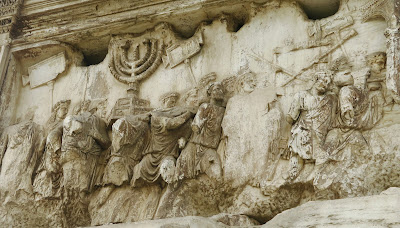 Relief inside the Arch of Titus in Rome celebrating plunder of Jewish temple