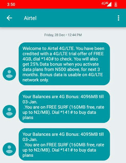 How to activate Airtel 4GB data bonus